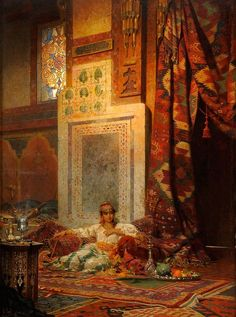 A lady in the privacy of her room. Medieval Islamic-world interior decor.  Art depiction Morocco 1800s.