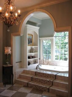 i like the built in on the wall,  and  the steps looks rich!