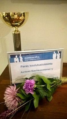 The best education organizer in 2015 - Aurajoki JC. Paras koulutustoiminta 2015 Aurajoen Nuorkauppakamari.