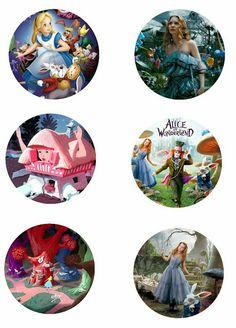 """Folie du Jour Bottle Cap Images: Alice in Wonderland Free 1"""" inch digital bottle cap images New version"""