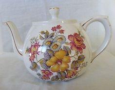 Vintage Ellgreave Tea Pot  England Yellow, Red, Blue Flowers Embossed Mark #864