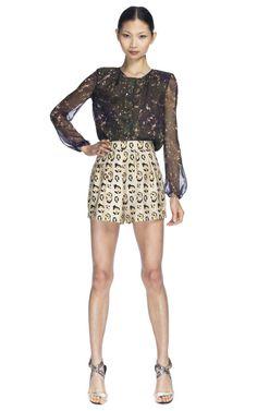 Love the mix of prints  Shop Giambattista Valli Pleated Leopard Short at Moda Operandi