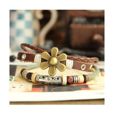 Vintage Goldren Flower Leather Rope Bracelet ❤ liked on Polyvore