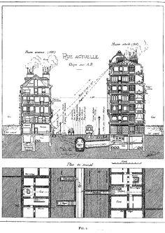 """Eugène Hénard, """"Rue actuelle"""" from """"Les villes de l ́avenir,"""" 1910"""