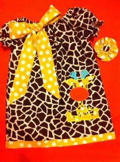 Baby Girl/Toddler/Girl Appliquéd Giraffe Peasant by DitsyDaisyDoo, $25.00