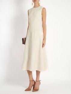 Valentino Daisy-appliqué wool and silk-blend midi dress