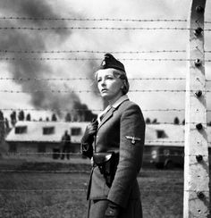 CAVEAT: This is not a genuine wartime photograph of Irma Grese, an SS guard at Bergen-Belsen, who was hanged in 1945. Though often posted on the Internet as the historical Grese, it is instead a frame from the 1963 unfinished Polish film PASAŻERKA (PASSENGER), featuring Aleksandra Śląska as Liza, a former cruel concentration camp guard at Auschwitz.