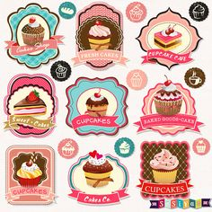INSTANT DOWNLOAD Cute Bakery Labels Frames & Cake by SasiyaDesigns, $5.00