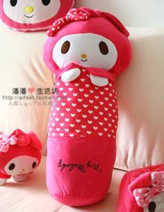 Cute sweet drop of foreign trade my melody Melody pedicle cartoon cylindrical pillow