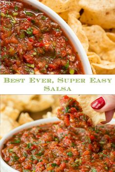 This fresh, vibrant easy salsa is loaded with delicious South of the Border flavor and comes together in less than 10 minutes. #salsa #bestsalsarecipe #mexicanfood Mexican Entrees, Mexican Food Recipes, Beef Recipes, Vegetarian Recipes, Healthy Recipes, Easy Dinner Recipes, Appetizer Recipes, Easy Dinners, Healthy Cafe