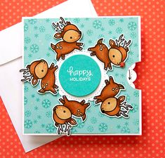 Spinning Wheel Card Video by Jennifer McGuire Ink Cool Cards, Diy Cards, Handmade Cards, Pop Up, Jennifer Mcguire Ink, Spinner Card, Lawn Fawn Blog, Santa And His Reindeer, Card Making Kits
