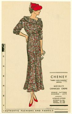 Crinkled crepe floral print dress] From New York Public Library Digital Collections.