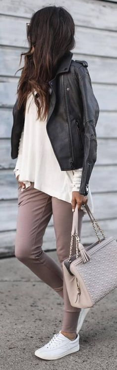 casual style outfit with a leather jacket