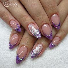 Purple Glittery French Gel Nail Polish