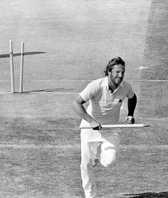 After the miracle of Leeds 1981 England faced the Aussies at Edgbaston. Again they were faced with defeat until Mike Brearley threw the ball to the hero of Headingley Ian Botham who promptly informed his skipper that he didn't want to bowl. But Brearley was able to persuade the young allrounder to take the ball and an amazing spell where Botham took 5 wickets for one run saw England home. Here Botham runs off with a souvenir stump after his heroics had put England in the Ashes driving seat