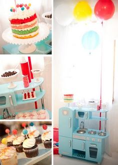 So sweet. Nice and up-lifting colours for a winter birthday party. Love the little kitchen too...