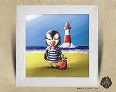Cadre carré 25x25 avec Illustration Bébé Macareux et phare
