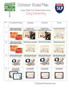 Are you ready for pumpkin everything? It's time for pumpkins to invade the speech room. My October Road Maps are posted in my TpT shop. They include Visual Lesson Plans for preschool, lower element...
