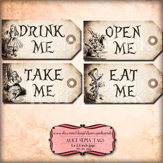 Alice in wonderland Tags, SEPIA ALICE tags, Alice in Wonderland decoration, instant download, perfect for parties, presents and invitations. by CherryPinkPrints on Etsy