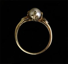 Art Deco 10k Gold Pearl and Diamond Ring with by ArtifactVintage, $575.00