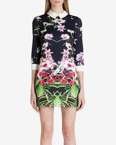 Collared mirrored tropics dress - Black   Dresses   Ted Baker UK