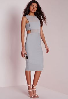 Crepe Sleeveless Cut Out Midi Dress Grey - sexy but modest