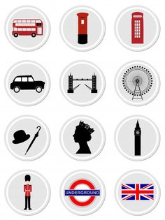 London Icons On Stickers. Free for private and commercial use London Icons On Stickers. Free for private and commercial use London Theme Parties, London Party, Photos Free, Free Stock Photos, Scrapbook Stickers, Planner Stickers, British Party, London Icons, Ideas Party