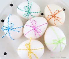 Twine Tied Eggs #Easter