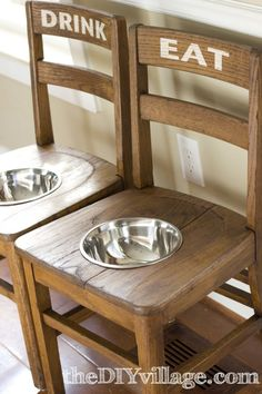 Have to keep this in mind. Big dogs need higher feeding stations, these are cool but eat up some space... DIY Dog Bowl Chairs via theDIYvillage.com