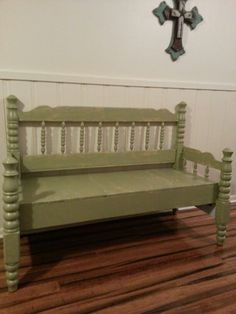 My daugter-in-love did a great job turning this bed head and foot board into a beautiful bench seat!.....td