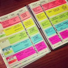 Erin Condren teacher planner with post-its - tutorial and free template to replicate this picture!