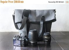 SUMMER SALES Dslr Fold Over Camera Bag with Insert  waxed