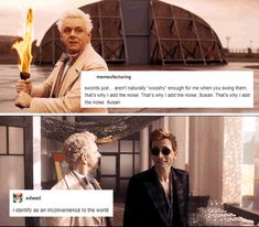 good omens ineffable husbands crowley aziraphale | Tumblr David Tennant Tumblr, Good Omens Book, Doctor Who Quotes, Christopher Eccleston, Rory Williams, Donna Noble, Billie Piper, Amy Pond, Jenna Coleman