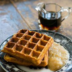 Pumpkin Waffles Recipe Breakfast and Brunch with all-purpose flour, yellow corn meal, baking powder, baking soda, salt, ground cinnamon, ground ginger, ground nutmeg, ground cloves, large eggs, brown sugar, buttermilk, pumpkin purée, butter, applesauce