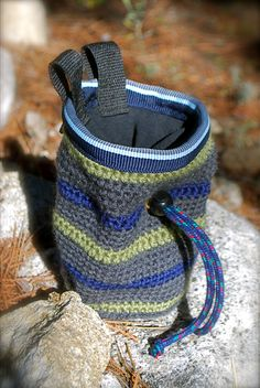 I made this crocheted chalk bag!