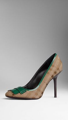 Fringe Detail Check Jacquard Pumps | Burberry