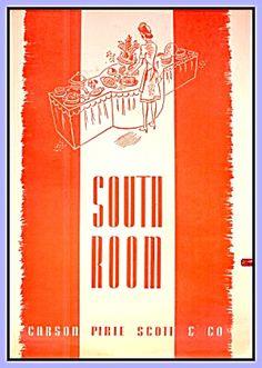 South Room Menu, Carson Pirie Scott, Chicago 1950s
