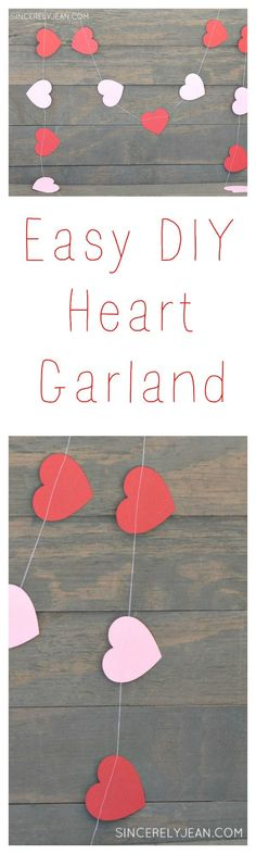 Easy DIY Heart Garland - All you need is a sewing machine and cardstock! | http://www.sincerelyjean.com