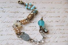 Always with you. Vintage beaded religious blue and pearl bracelet