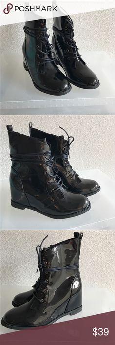 CUTE WEDGE TIE UP ANKLE BOOTIES BLACK PATENT SHINY BOOTS ..SOOOO CUTE Shoes Ankle Boots & Booties