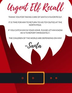 Elf Recall : Urgent Elf Recall from the North Pole, get your free Elf on the Shelf printable download to get rid of your Elf early courtesy of Santa