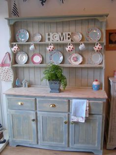 add hooks for my tea cups instead of stacking them? SHABBY CHIC welsh dresser - with Annie Sloan Duck egg . Shabby Chic Welsh Dresser, Shabby Chic Vintage, Shabby Chic Decor, Cocina Shabby Chic, Muebles Shabby Chic, Shabby Chic Homes, Shabby Chic Kitchen Cabinets, Kitchen Dresser, Kitchen Decor