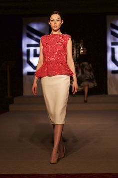 Tina Griffin 2015 Collection. White pencil skirt and red rose brocade top. www.tinagriffin.ie