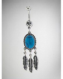 Cz Feather Dangle Barbell Belly Ring - 14 Gauge