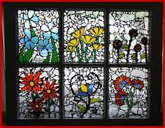mosaic glass art done in old window frame