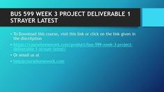 BUS 599 WEEK 3 PROJECT DELIVERABLE 1 STRAYER LATEST