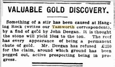 TROVE Tuesday – It Happened in Tamworth in 1909 – Gold Fever | The Keeper of Stories Tamworth, Lucky Man, Tuesday, Thoughts, Shit Happens, Gold, Ideas, Yellow