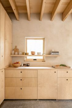 Kitchen Interior, Kitchen Design, Maple Butcher Block, Plywood Kitchen, Birch Kitchen Cabinets, Plywood Interior, Kitchenette, Minimalist Home, Pallet Furniture
