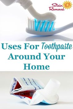Here are a lot of tips and uses for toothpaste around your home, for cleaning, stain removal and more. It's useful for cleaning a lot more than your teeth {on Stain Removal 101} #UsesForToothpaste #ToothpasteUses #CleaningTips Deep Cleaning Tips, House Cleaning Tips, Spring Cleaning, Cleaning Hacks, Cleaning Supplies, Daily Cleaning, Cleaning Products, Uses For Toothpaste, Arm And Hammer Super Washing Soda