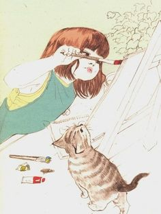The style of this illustration reminds me of the art in my childhood storybooks. Art And Illustration, Drawn Art, Inspiration Art, Art Design, Cat Art, Painting & Drawing, Amazing Art, Character Design, My Arts